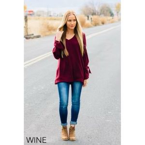 Burgundy Bell Sleeve Sweater!